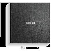 Принтбук ROYAL в черной кожаной обложке 30х30 (металлик)<br>