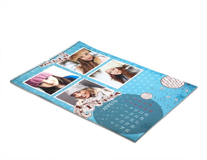 Печать календаря с фотографиями в большом формате А2 на гладкой бумаге